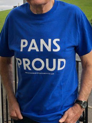 Meat and Potatoes Pans Proud Royal Blue shirt