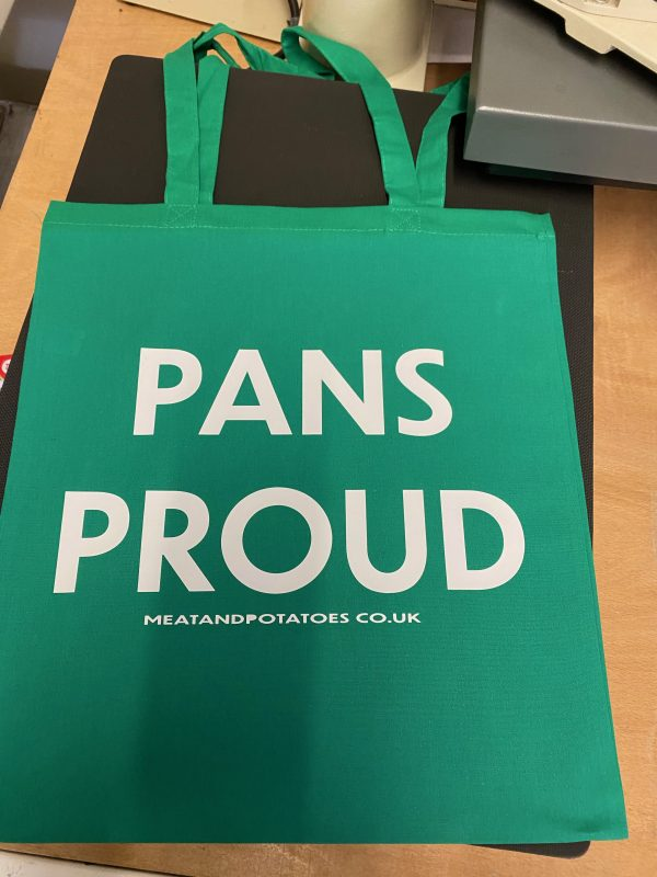 Meat and Potatoes tote shopper green