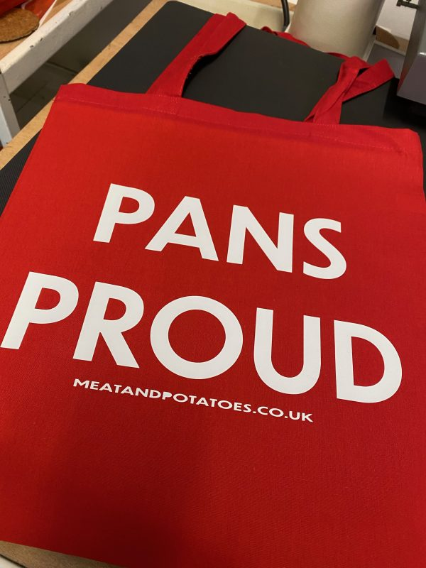 Meat and Potatoes tote shopper red