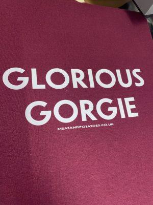 Meat and Potatoes Glorious Gorgie Maroon shirt