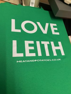 Meat and Potatoes Love Leith Green shirt